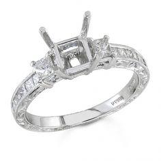 BF1326 - #23487  Platinum, diamond ring 0.51 ct. princess (Please call for pricing)