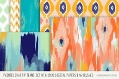 Painted Ikat Papers, Brushes- Stamps by Colors on Paper on Creative Market