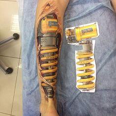 Bio Mecanico suspension Bike Tattoos, 3d Tattoos, Badass Tattoos, Body Art Tattoos, Cool Tattoos, Mark Tattoo, Cover Tattoo, Tattoo Sleeve Designs, Sleeve Tattoos