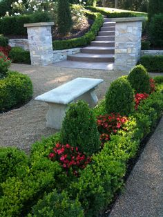 ** make a small round/area? of gravel in front bed to put plinth and pot on? Boxwood Landscaping, Boxwood Garden, Front Yard Landscaping, Gray Gardens, Back Gardens, Lawn And Landscape, Landscape Design, Rose Garden Design, Garden Canopy