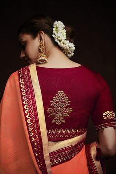 - Dark Orange Plain Kajal Aggarwal Sari with Embroidered Border Pattu Saree Blouse Designs, Fancy Blouse Designs, Bridal Blouse Designs, Traditional Blouse Designs, Stylish Blouse Design, Wedding Planners, Saree Photoshoot, Weddings, Wedding Tips