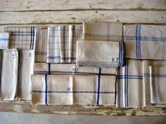 Collection of old French blue and white T-Towels www.appleyhoare.com