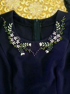 Wonderful Ribbon Embroidery Flowers by Hand Ideas. Enchanting Ribbon Embroidery Flowers by Hand Ideas. Kurti Embroidery Design, Hand Embroidery Videos, Hand Embroidery Flowers, Embroidery On Clothes, Flower Embroidery Designs, Embroidery On Kurtis, Simple Embroidery, Shirt Embroidery, Embroidered Clothes