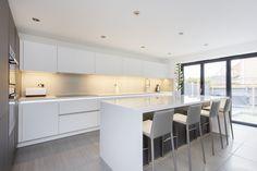 White and Grey Glass Handleless Nolte Matrix Art Kitchen Grey Kitchen Designs, Kitchen Room Design, Modern Kitchen Design, Home Decor Kitchen, Kitchen Interior, Home Kitchens, Modern Kitchen Cabinets, Glass Kitchen, Kitchen Flooring