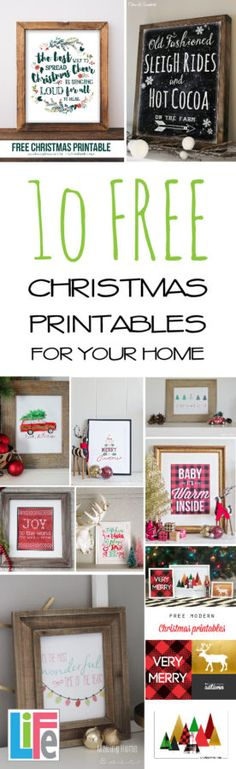 10 FREE Christmas Printables for your Home