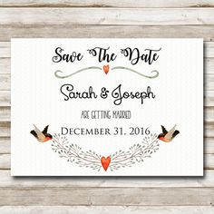 Sale! Save The Date Printable 5x7 Flat Card Instant Download Digital File Country Nature Save The Date Card