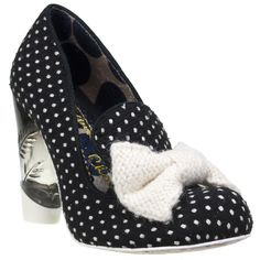 Irregular Choice Bowtiful Court Shoe in Black and White