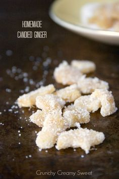 Easy to make at home Candied Ginger Recipe  from America's Test Kitchen DIY Cookbook: simmer 45 min 8 oz sliced ginger in 2 c sugar with 2 c water. Strain and let dry the ginger. Toss ginger slices in 1/4 c sugar, then transfer into a container. (also by David Lebovitz: http://www.davidlebovitz.com/2008/12/candied-ginger/ , or by Alton Brown  http://www.foodnetwork.com/recipes/alton-brown/candied-ginger-recipe.html )