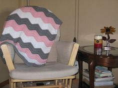 Gray white and pink blanket by BlanketHub on Etsy, $45.00