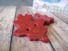 Deep Red polymer clay Oak Leaf Buttons set by CharlenesButtonBox, $2.75