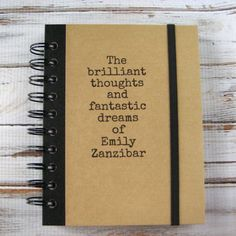 so simple!!  Personalized Journal Notebook Blank Book Brilliant Zany 73 by zany