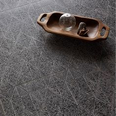 Floor is Ermanno x Ann Sacks Trama porcelain in bronze on black. Ceramic Tile Floor Bathroom, Best Bathroom Tiles, Ceramic Sink, Bathroom Flooring, Porcelain Tile, Bathroom Ideas, Wooden Platters, Pink Tiles, Herringbone Tile