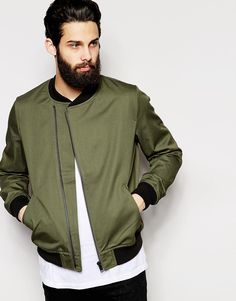 Bomber Jacket by ASOS Mid-weight woven fabric Baseball collar Asymmetric  zip placket Side slant pockets Ribbed trims Regular fit - true to size  Machine wash ...