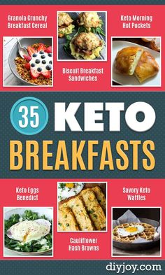 Keto Breakfast Recipes - Low Carb Breakfasts and Morning Meals for the Ketogenic Diet - Low Carbohydrate Foods on the Go - Easy Crockpot Recipes and Casserole - Muffins and Pancakes, Shake and Smoothie, Ideas With No Eggs http://diyjoy.com/keto-breakfast-recipes
