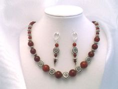 Carnelian & Carved Silver Disk 18 inch Necklace & Earrings Set for sale at PSP Unique Jewelry@etsy.com Gemstone Jewelry, Unique Jewelry, Beautiful One, Psp, Carnelian, Earring Set, Craft Projects, Beaded Necklace, Carving