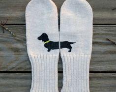 Black Dachshund Beige Knitted Alpaca / Merino Wool Mittens