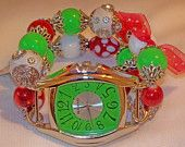 Christmas Green and Red Chunky Beaded Watch Band and Green Face - Interchangeable