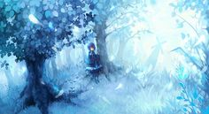 Sad but beautiful anime girl in a blue forest ~
