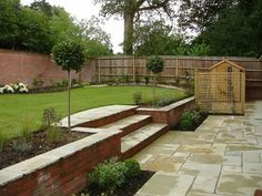 instead of the bricks - steps and 2 planters