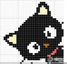 Crochet or cross stitch pattern ~ Black cat Cross Stitching, Cross Stitch Embroidery, Embroidery Patterns, Hand Embroidery, Cross Stitch Patterns, Cat Cross Stitches, Crochet Pixel, Crochet Chart, Pixel Art