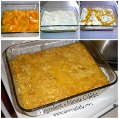 3 Ingredient Peach Cobbler in 3 Minutes Recipe - Large can of peaches, 1 box of yellow cake mix, 1 stick of butter ( Use gluten-free cake mix) Köstliche Desserts, Delicious Desserts, Dessert Recipes, Yummy Food, Scones, 3 Ingredient Recipes, Canned Peaches, Cake Mix Recipes, Yummy Recipes
