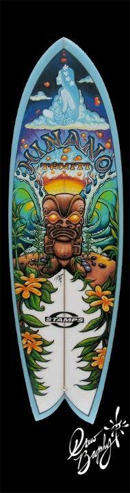 Hinano Tahiti Surfboard Painting Art (c) Drew Brophy Surfboard Painting, Surfboard Art, Skateboard Art, Tahiti, Surf Mar, Tiki Hawaii, Posca Art, Tiki Art, Hawaiian Art