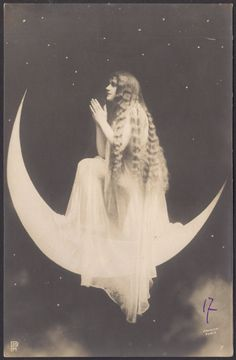 Moon Priestess Surrealistic French Postcard by Arjalew, Paris, ca 1900 Paper Moon, Vintage Photographs, Vintage Photos, Wicca, Magick, Witchcraft, You Are My Moon, Moon Photos, Moon Princess