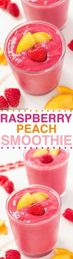 Making this Raspberry Peach Smoothie is super easy. All you need is some frozen raspberries, peaches, vanilla greek yogurt and vanilla almond milk