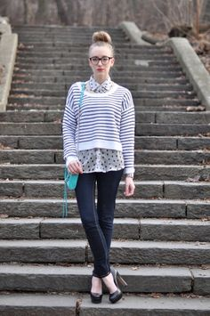 just love how the striped top and polka-dotted blouse, items that would normally fall victim to pattern-clashing, are effortlessly tied together by their similar hues and the necklace around the collar, aqua purse, and heels pack an extra punch of chic. Only Fashion, Love Fashion, Autumn Fashion, Fashion Blogs, Eat Sleep Wear, Polka Dot Blouse, Polka Dots, Cropped Sweater, Style Me