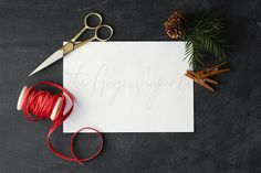 Styled Stock Photography  Pine and Red Ribbon by TheGingerSnapsCo