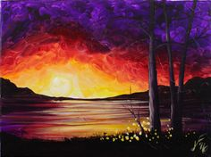 Summer Sunset at the Lake Step by Step Acrylic Painting on Canvas for Be...
