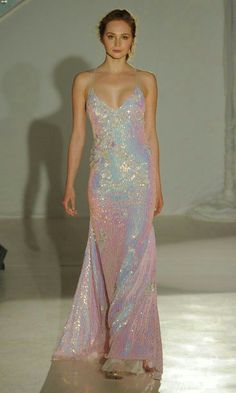 Hayley Paige spring 2017 holographic sheath evening sheath wedding dress with sequin cherry blossom detail Source by cchelsearaee dresses Bridal Fashion Week, Runway Fashion, Fashion Fashion, Bridal Dresses, Prom Dresses, Formal Dresses, Dress Prom, Bridesmaid Gowns, Dance Dresses