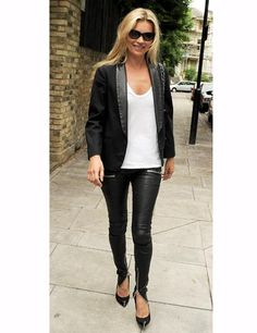 How to wear leather pants  Keep it simple in a basic tee and classic blazer – Ms Moss knows that less is more.