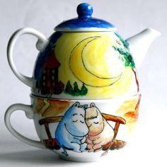 """Сервизы, чайные пары ручной работы. Ярмарка Мастеров - ручная работа. Купить Чайный набор """"Влюбленные муми-тролли"""". Handmade."""