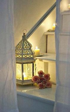 awesome Astonishing Ramadan Stairs Decor Ideas With Diy Lights That You Will Love It Candels, Candle Lanterns, Candle Sconces, Led Candles, Shabby Chic, Ramadan Decorations, White Cottage, Moroccan Decor, Moroccan Lanterns
