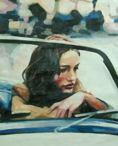 Thomas Saliot windshield near finished  Oil on canvas