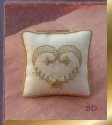 Brigitte DeLage - embroidered pillow using ribbon embroidery technique