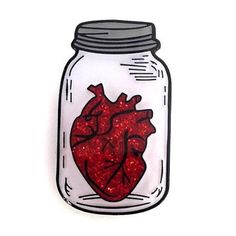 Red Heart In A Jar - Pin