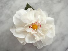 Vintage 1950's millinery flower white with yellow center red tipped peps leaf #1