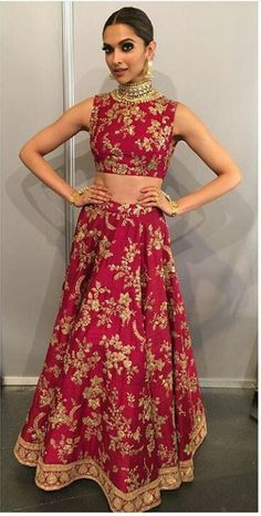 Bollywood celebrities have given a new dimension to the Indian Lehenga giving a whole new range of variety to shoppers. Lehenga worn by Bollywood celebrities have became the latest trend setters for s. Sabyasachi Gown, Deepika Padukone Lehenga, Deepika Padukone Style, Indian Lehenga, Red Lehenga, Lehenga Choli, Sharara, Indian Bridal Outfits, Pakistani Outfits