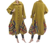 Artistic boho coat boiled wool in mustard / bulgy balloon lagenlook for medium or plus sized women / size M L  / Spring Fall Winter