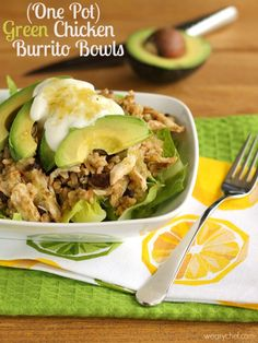 One Pot Green Chicken Burrito Bowls - An easy Mexican dinner idea!