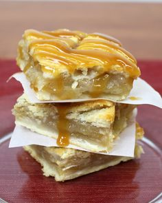 "Apple pie is an American favorite, and this dessert bar recipe turns the classic apple pie into delicious bars! What makes these Gooey Apple Pie Bars ""gooey"" is the delicious caramel sprinkled throughout the filling and drizzled on top."