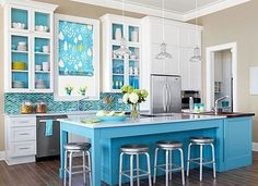 Teal Kitchens colorful kitchen islands | teal, kitchens and teal blue