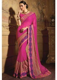 couleur rose magnifique sari net, - 158,00 €, #Sarimariage #Sariindou #Robeindienne #Shopkund