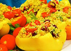 Chickpea and Quinoa Salad in Sweet Pepper Boats