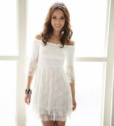 Off the Shoulder Casual Dresses | Off Shoulder Half Sleeve White Lace Dress @ Dresses,Casual Dress ...