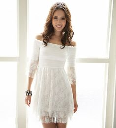 Off the Shoulder Casual Dresses | Off Shoulder Half Sleeve White Lace Dress @ Dresses,Casual Dress ...