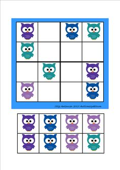 Simple sudoku owls - cut and paste.  By Autismespektrum