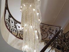Large crystal spiral lighting Large Crystals, Spirals, Crystal Pendant, Chandelier, Ceiling Lights, Shapes, Lighting, Stone, Modern